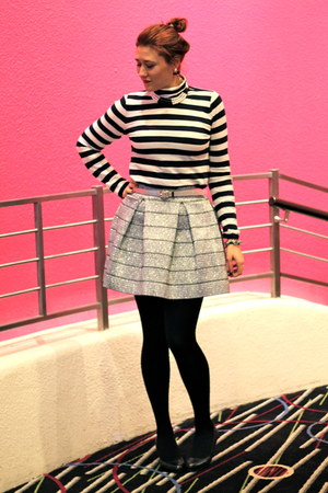 silver pleated Devlin skirt - black turtleneck JCrew shirt