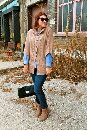camel poncho Target top - sky blue chambray Target top - fringe Forever 21 boots
