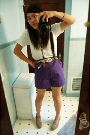 white Americal Apparel t-shirt - purple shorts - belt - gray Old Navy shoes