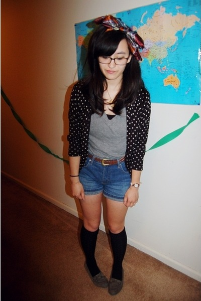second hand scarf - denim second hand shorts - black polka dotted cardigan