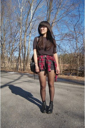 black asos boots - ruby red DressLink shirt - black Forever 21 shorts