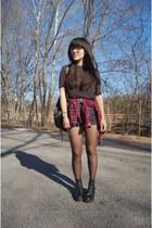 black asos boots - ruby red DressLink shirt - black Forever 21 shorts