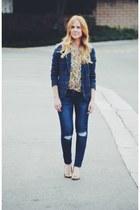 navy plaid merona blazer - green floral print H&M blouse - camel Aldo pumps