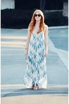 tan peep toe ankle Steve Madden boots - sky blue dreamlike maxi dress