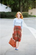 brick red skirt - heather gray Forever 21 sweater - tawny vegan leather bag