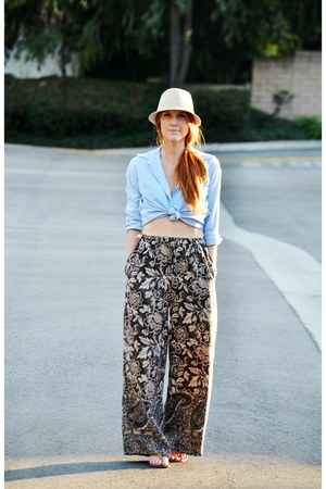 sky blue vintage blouse - beige hat - pants