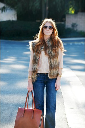 brown faux fur pins and needles vest - blue dojo flare 7 for all mankind jeans
