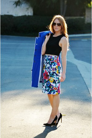 floral pencil eShakti skirt - blue coat - black crop top