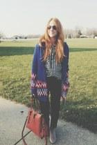 black checkered f21 blouse - beige ankle san edelman boots - black BDG jeans