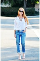 blue 7 for all mankind jeans - white button up Mossimo blouse