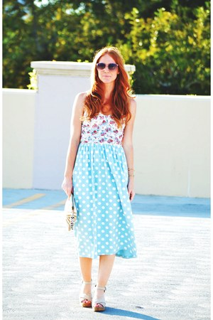 polka dot asos dress - floral bustier top - TOMS wedges