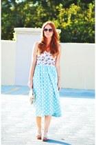 polka dot asos dress - floral bustier top - TOMS wedges
