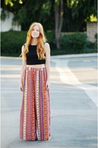 black crop top - burnt orange wide leg pants - target Mossimo wedges