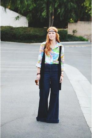 vintage blouse - jeans - black crochet vest