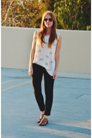 brown ankle Lane boots - black ponte pants - Forever 21 top