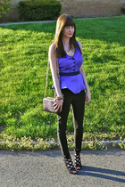 black Henri Bendel bag - black shoemint wedges - black H&M pants
