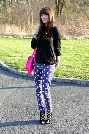 Cambridge Satchel Company bag - polka dot pants Forever 21 jeans - Old Navy top
