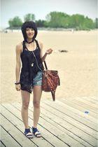 black asos top - shorts