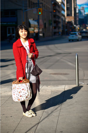 red coat - white purse - beige shoes - gold