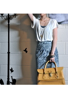 gray Forever 21 intimate - gold thrifted purse - blue Urban Outfitters skirt - g