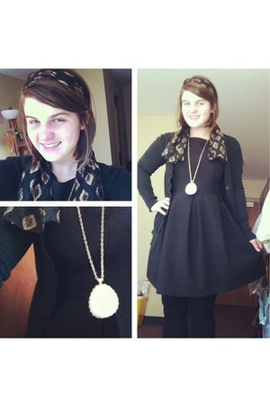 black H&M dress - black cardigan - cream necklace - black vintage hair accessory