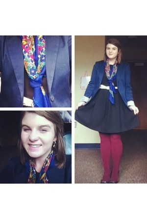 blue scarf - black dress - navy blazer - maroon tights - cream belt