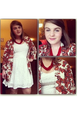 ruby red cardigan - white dress - ruby red necklace