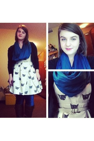 cream Anthropologie dress - blue HUE tights - blue scarf - black cardigan