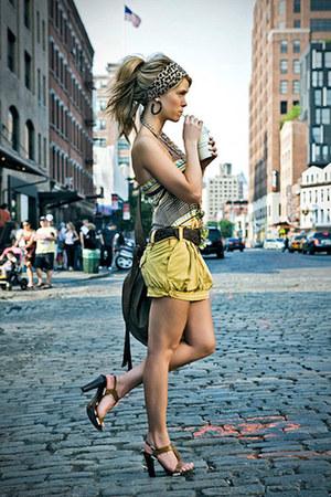 top - bag - shorts - sandals - accessories - belt