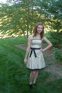 Gold-stapless-a-line-gunne-sax-dress-black-lace-up-booties-audrey-brooke-heels