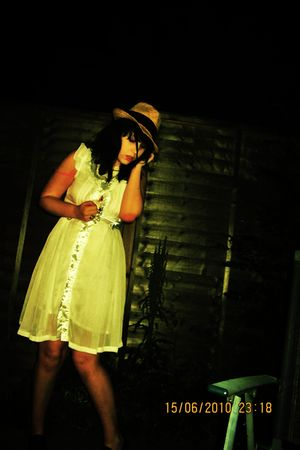 white dress - yellow hat - black shoes
