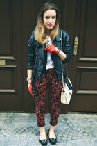 red H&M pants - black Mango jacket - white Forever21 bag - black zalando loafers