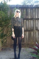 black Target shorts - Zara blouse - black Zara heels