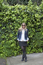 black Dolce Vita boots - navy JCrew blazer - white Gap shirt