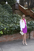 bubble gum Jcrew shirt - white Zara blazer - white bag - amethyst Jcrew skirt