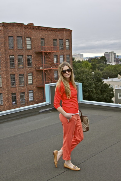 orange pants - carrot orange sweater - camel loafers