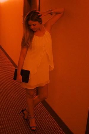 yellow dress - black vintage bag - black Zara heels