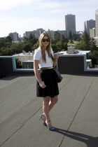 black Bottega Veneta purse - white Zara shirt - black Development skirt