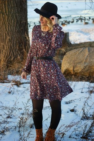 maroon floral print Forever 21 dress - camel Samantha Pleet for Wolverin boots