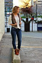 light brown fur H&M vest - tawny Nine West boots - navy Rock & Republic jeans