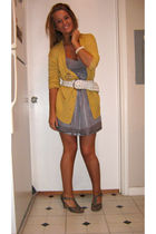 gray Forever 21 dress - yellow Victorias Secret cardigan - white Forever 21 belt