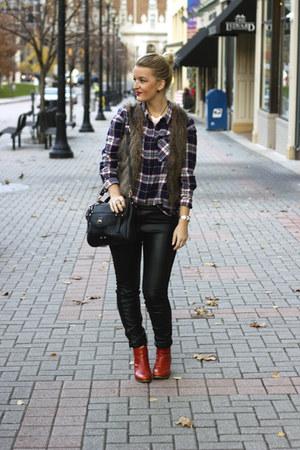 black sparrow bag - brick red Wolverine boots - black pleather H&M pants