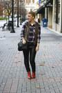 Brick-red-wolverine-boots-black-sparrow-bag-black-pleather-h-m-pants