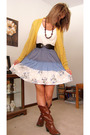 Blue-charlotte-russe-dress-brown-charlotte-russe-boots-yellow-victorias-secr