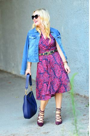magenta paisley Karina Dresses dress - blue denim Crafted by Lee jacket