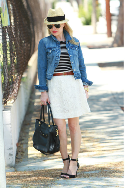 44a01065f navy denim Levis jacket - black striped Zara top - cream lace Rhyme skirt