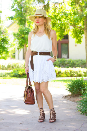 white camisole Topshop top - white lace Joe Fresh skirt