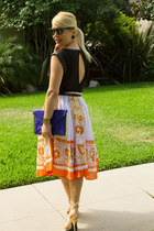 cobalt clutch asos bag - milly skirt - backless J Crew top - Casadei heels