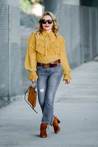 mustard ruffled storets top - light blue cropped black label jeans