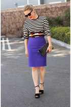 blue striped Sonia Rykiel sweater - black studded clutch unknown brand bag